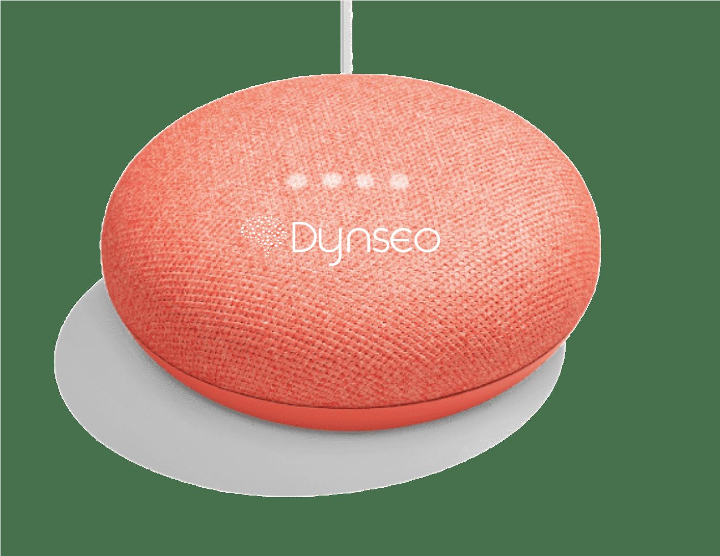 L'assistant vocal de DYNSEO fonctionne avec le mini Google Home orange. afin que les seniors puissent le prendre en main facilement.