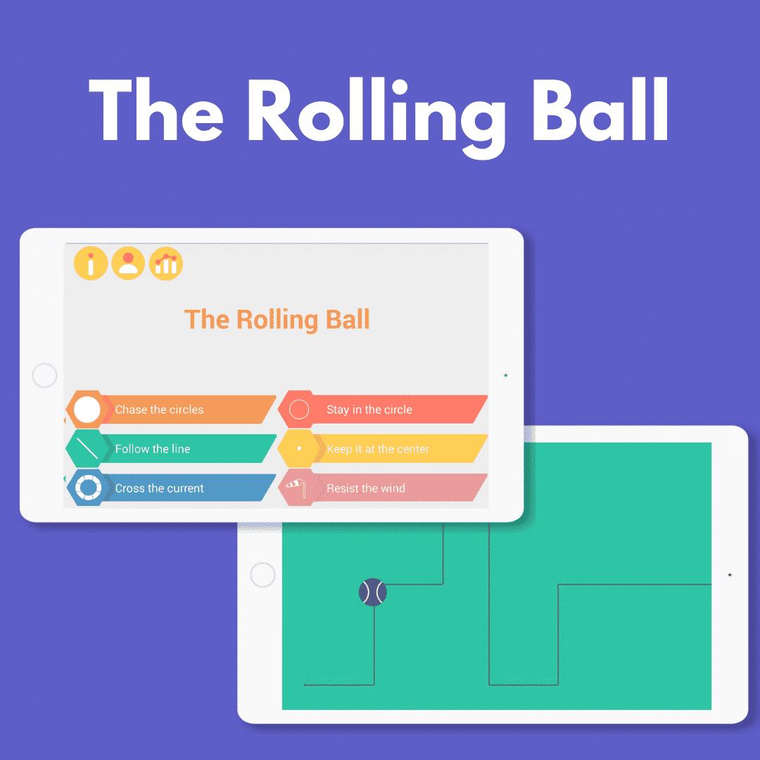 rolling-ball-fine-motor-skills-app-on-tablet-for-seniors-children-adults
